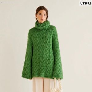 ▪️mango chunky knit▪️turtleneck green oversized